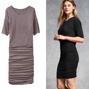 Athleta Gray Ruched Tee Dress S